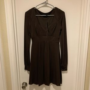 BCBGMaxAzria Brown Long Sleeve Scoop Dress NWT
